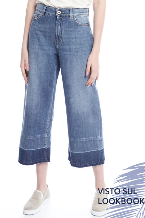 Pantalone cropped in denim Intrend