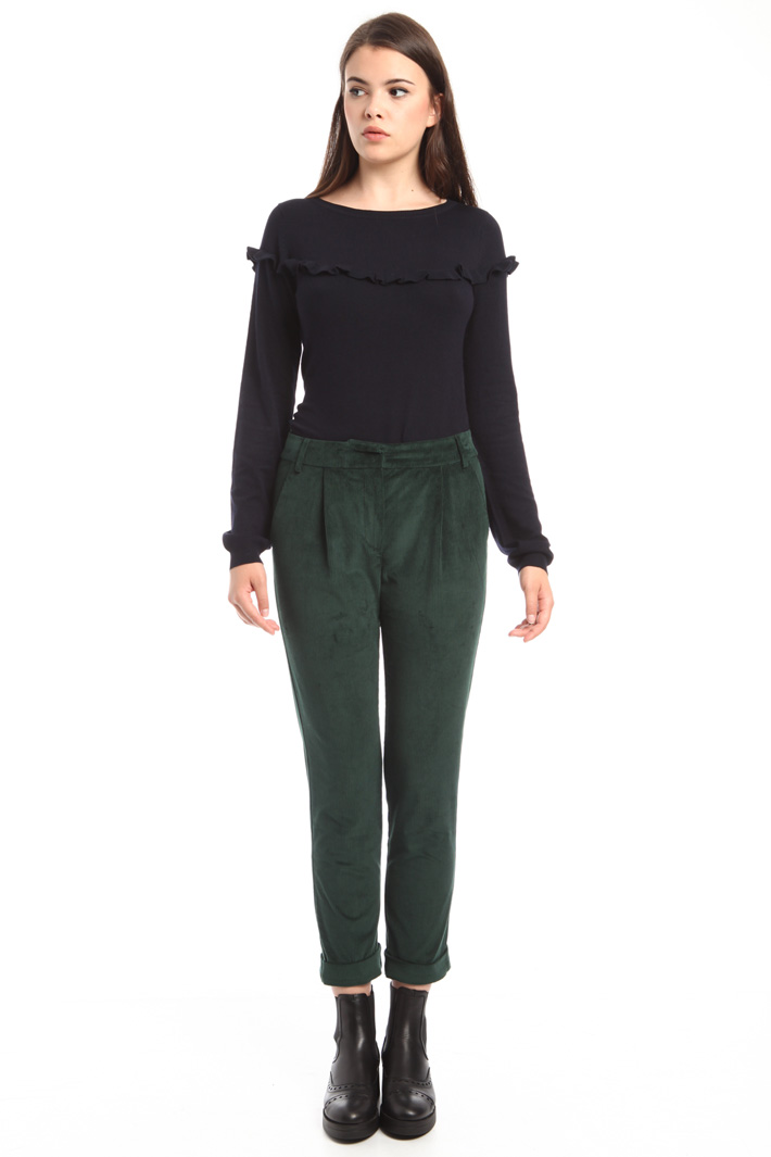 Pantaloni cropped in velluto Intrend