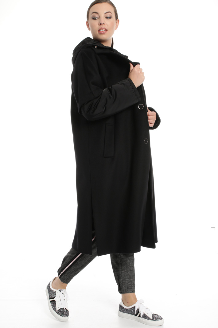 Cloth and technical fabric coat  Intrend