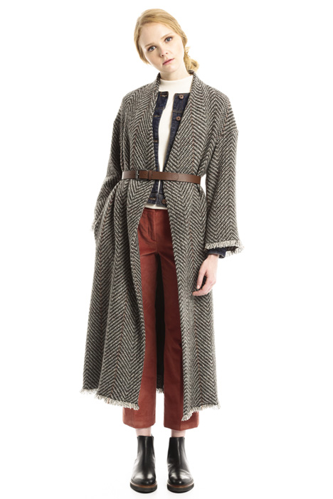Cappotto lungo in tweed Intrend