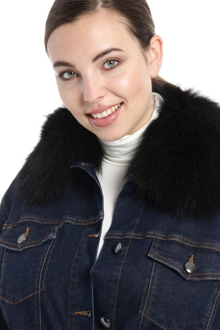 Denim jacket with fur collar Intrend