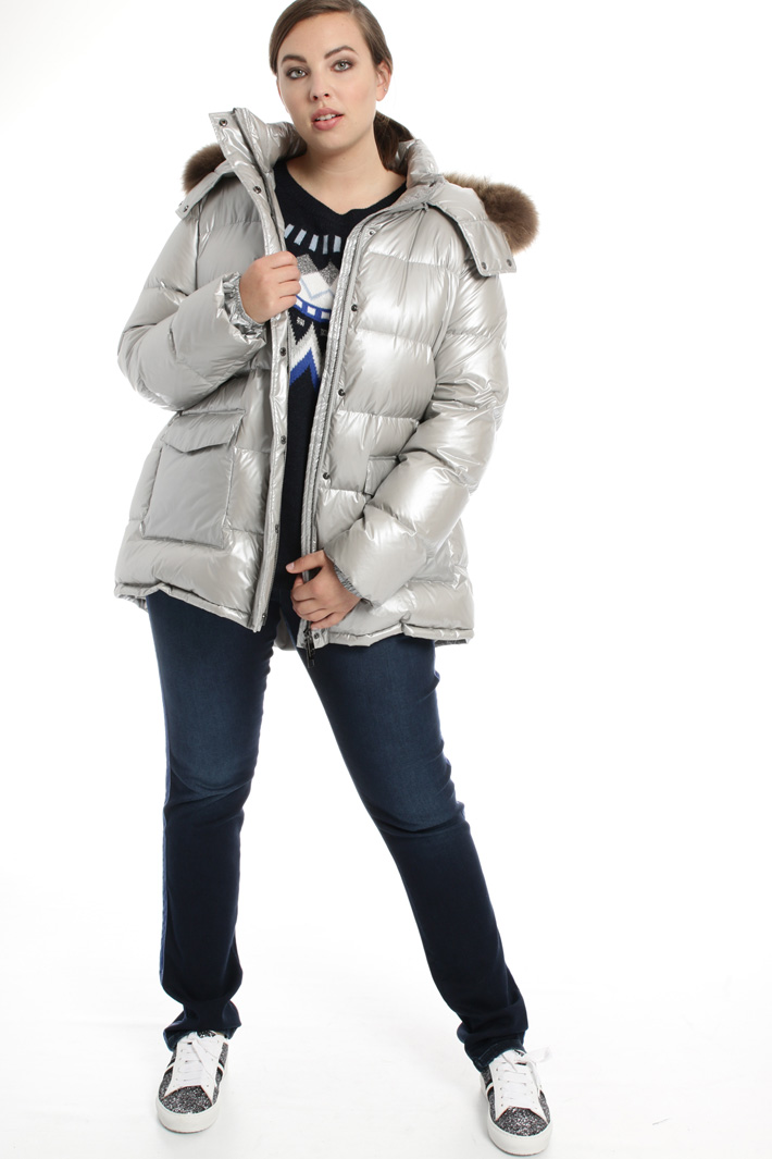 Metallic effect down jacket Intrend