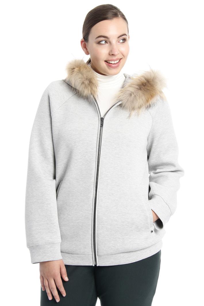 Fur trim hooded sweatshirt Intrend