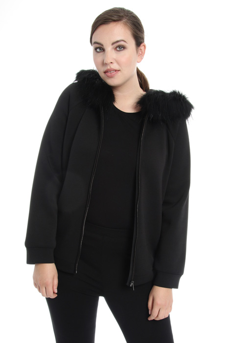 Fur trim hooded sweatshirt Intrend