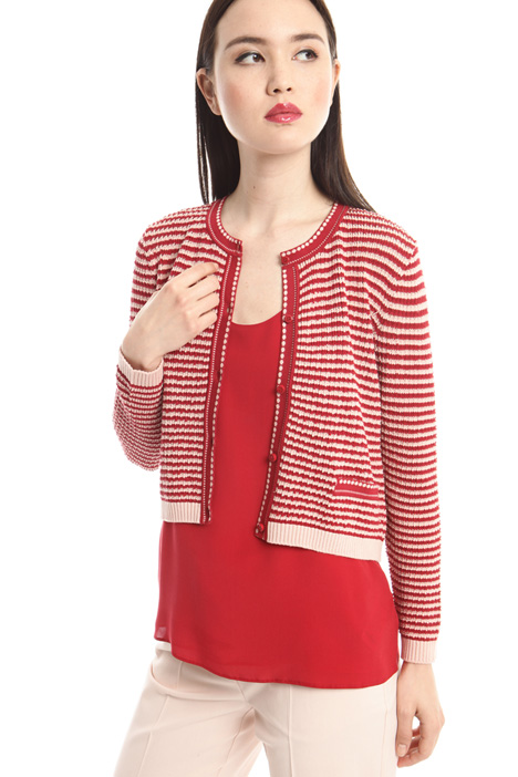 Crew neck viscose cardigan Intrend
