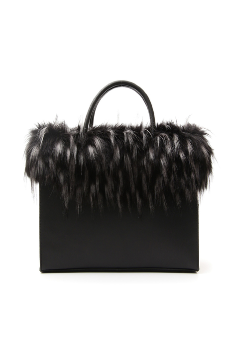 Fur-effect trimmed bag Intrend