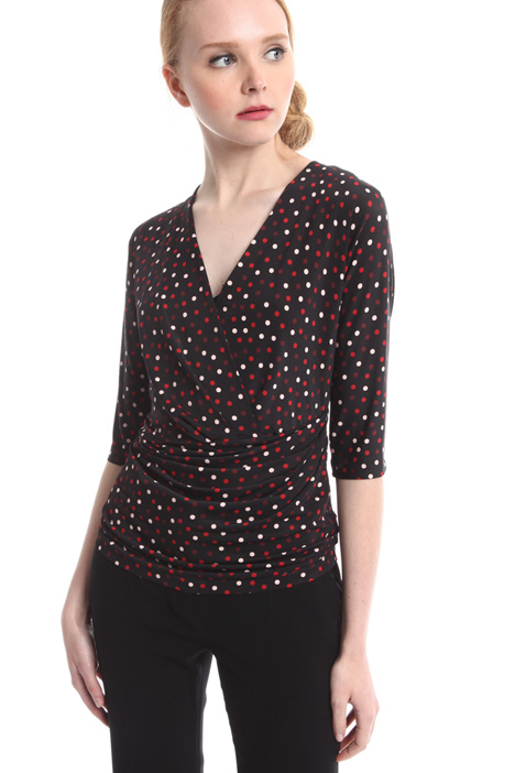 Polka dot jersey top Intrend