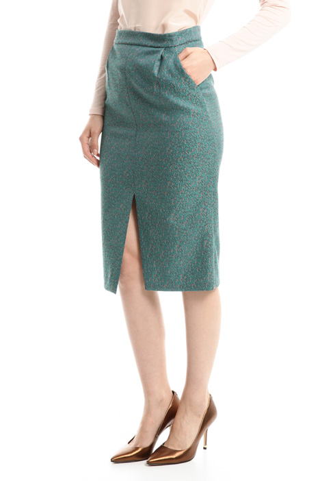Back slit jacquard skirt Intrend