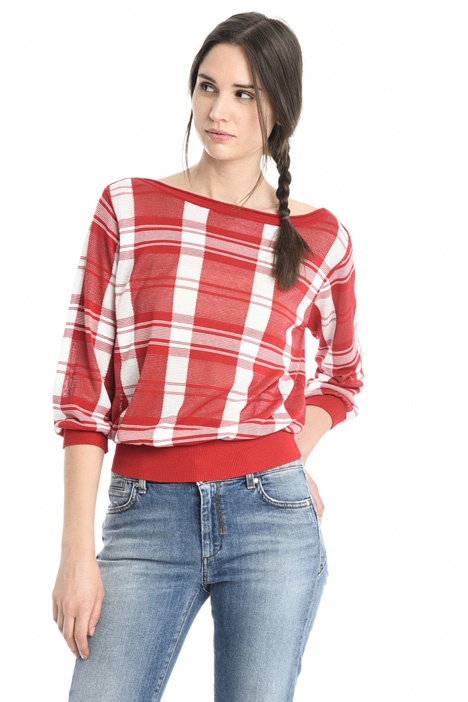 Checked viscose sweater Intrend