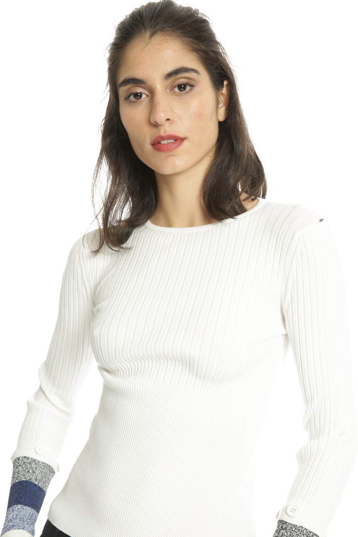 Sweater with detachable cuffs Intrend