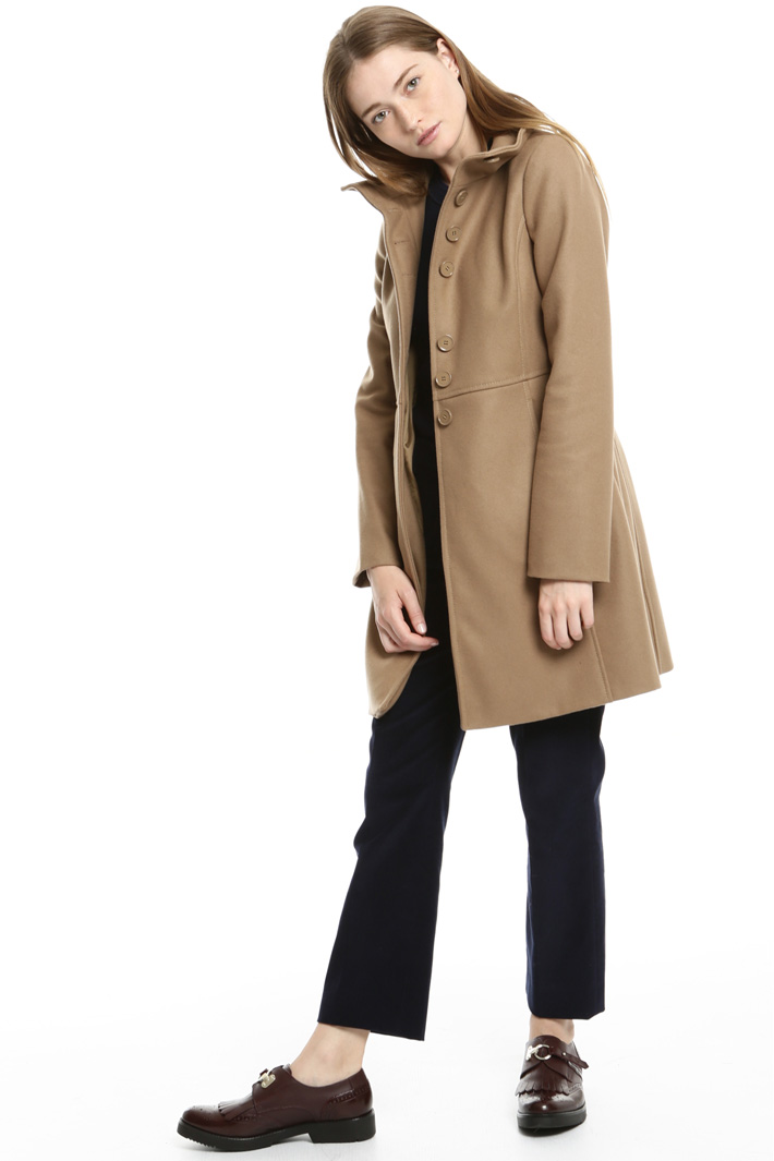 High neck drap coat Intrend