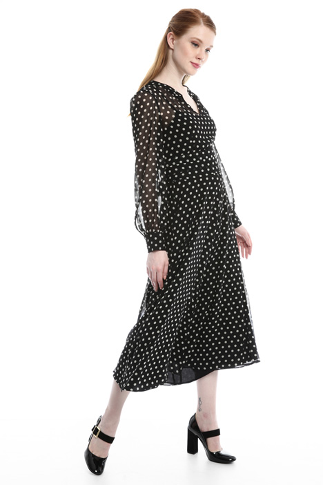 Polka dot georgette dress Intrend