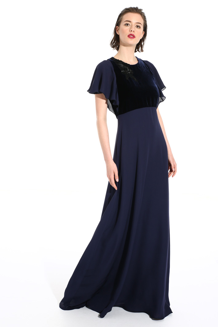 Silk and velvet dress Intrend