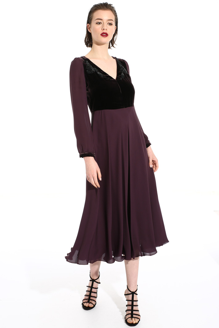 Pure silk and velvet dress Intrend
