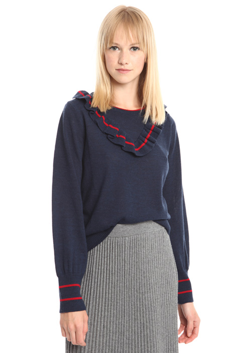 Wool sweater with frills Intrend
