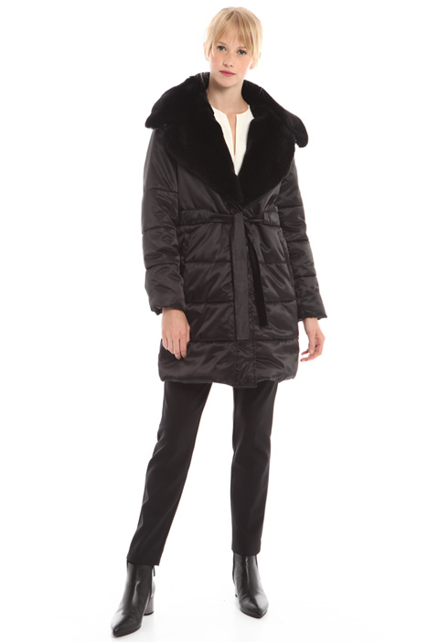 Fur-trimmed padded coat Intrend