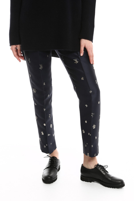 Floral motif jacquard trousers Intrend