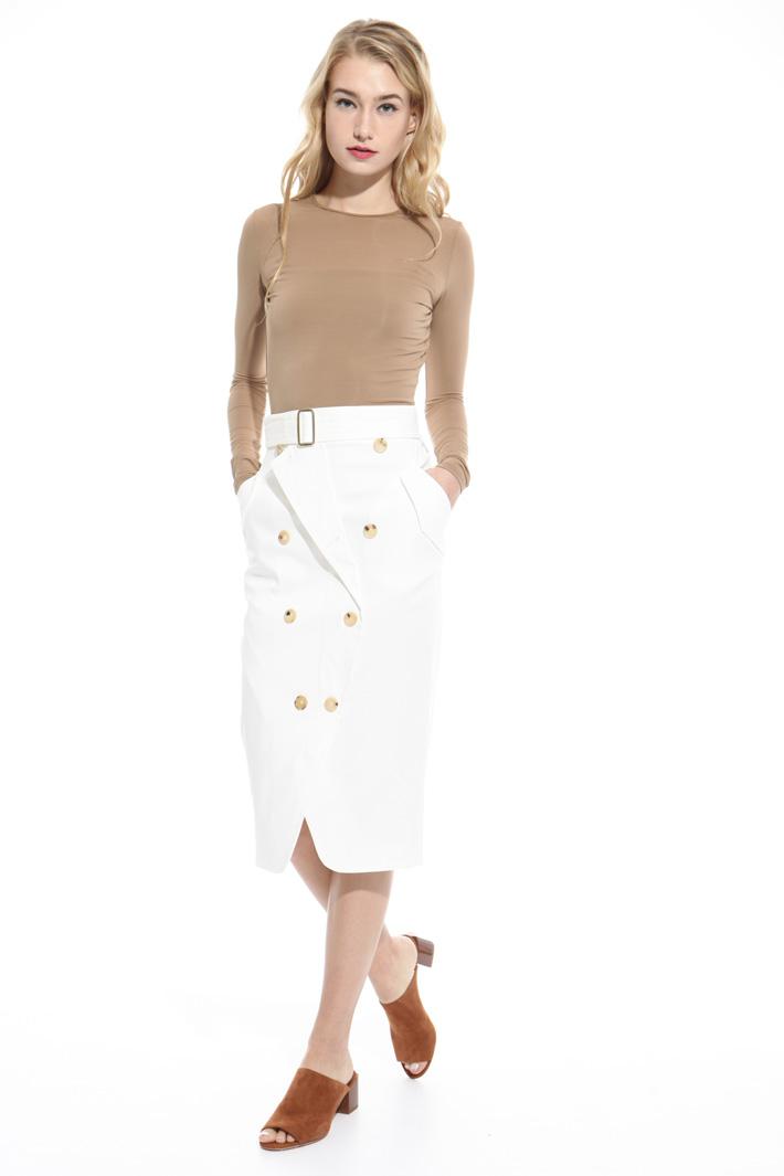 Buttoned gabardine skirt Intrend