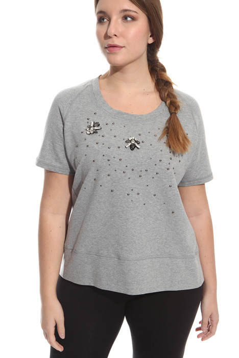 T-shirt in felpata con strass Intrend