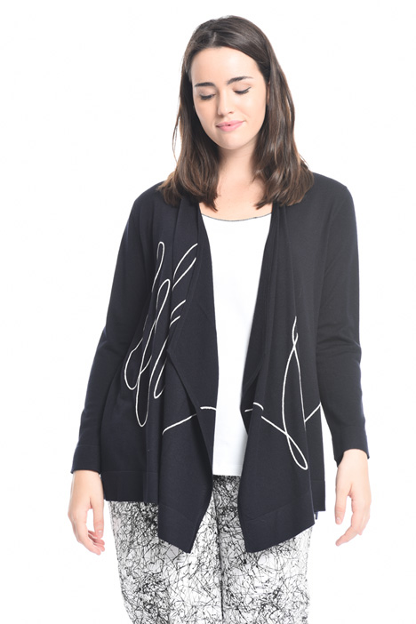 Cardigan in lana con ricamo Intrend