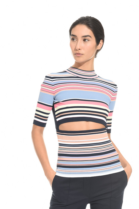 Ribbed top with cut-out Intrend