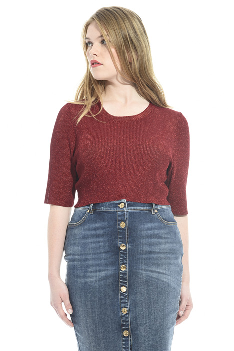 Knitted lamé cropped top Intrend