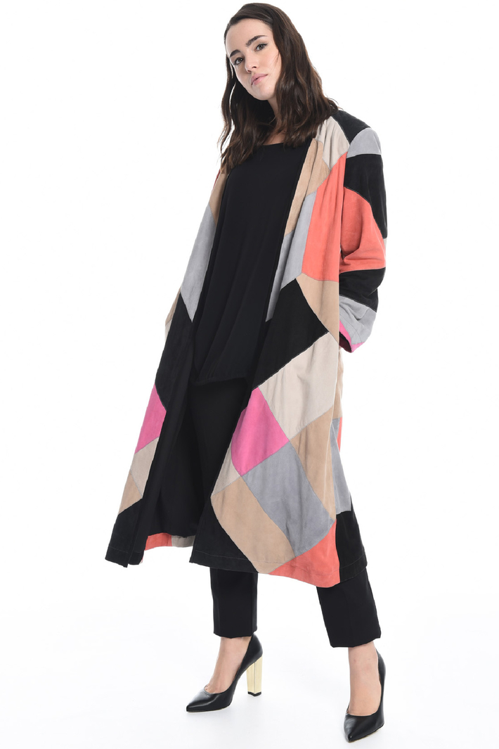 Suede patchwork duster coat Intrend