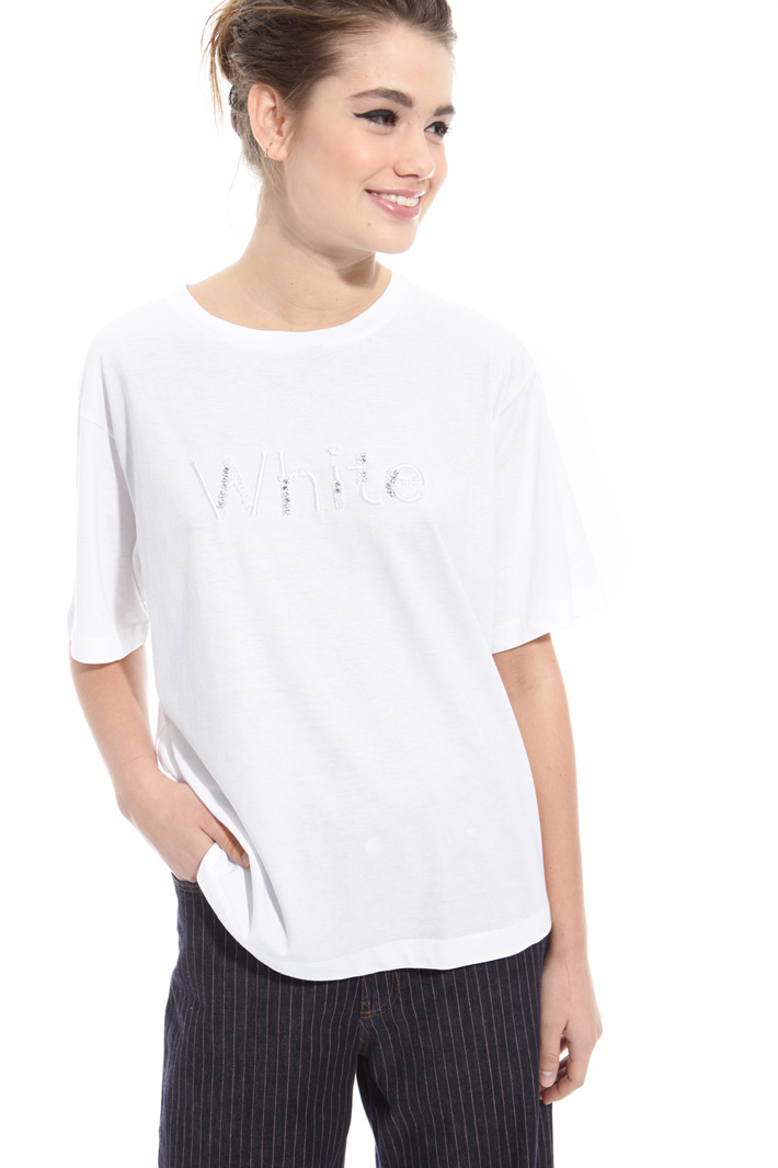 T-shirt with bijou appliqué Intrend