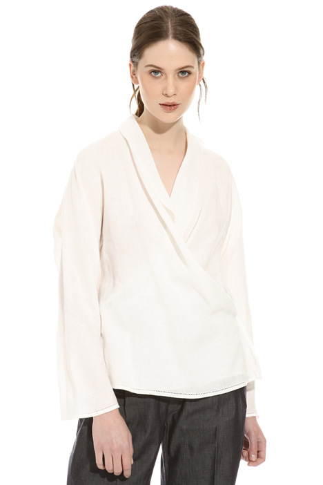 Wrap-up linen blouse Intrend
