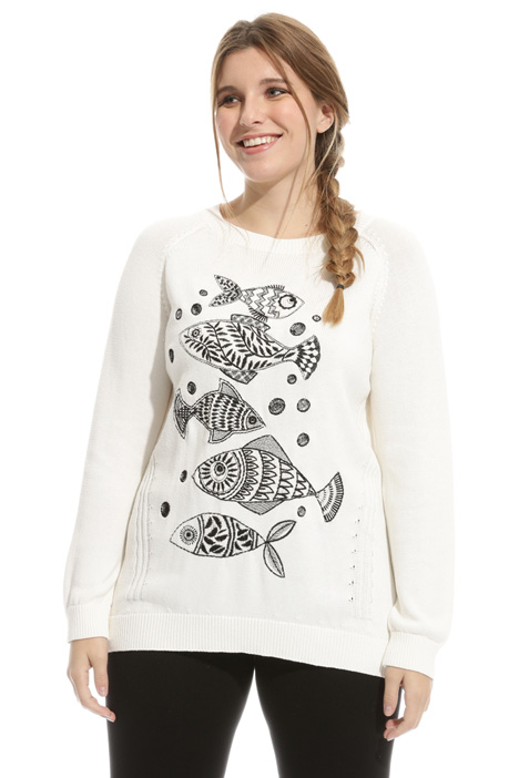 Cotton sweater with embroidery Intrend
