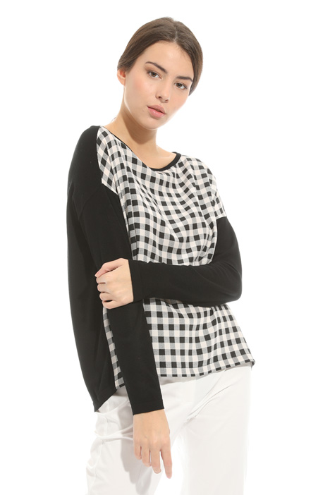 Mixed fabric sweater Intrend