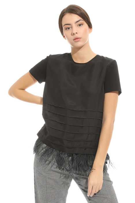 Removable feather trim top Intrend