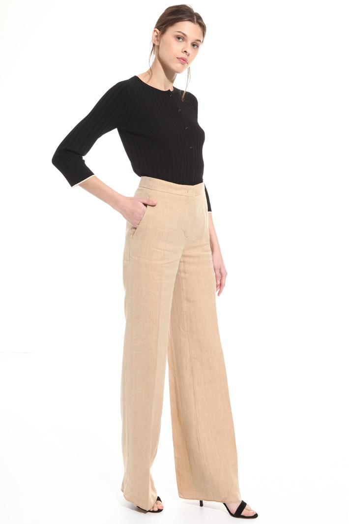 Pantalone in lino e ramié Intrend