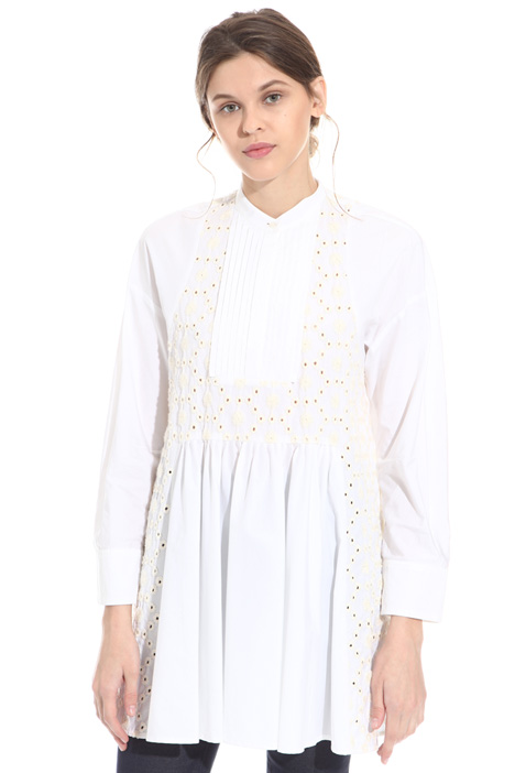 Embroidered poplin tunic Intrend