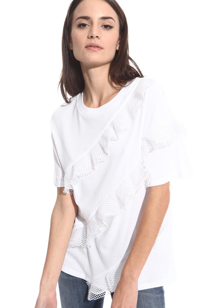 T-shirt con balze a rete Intrend