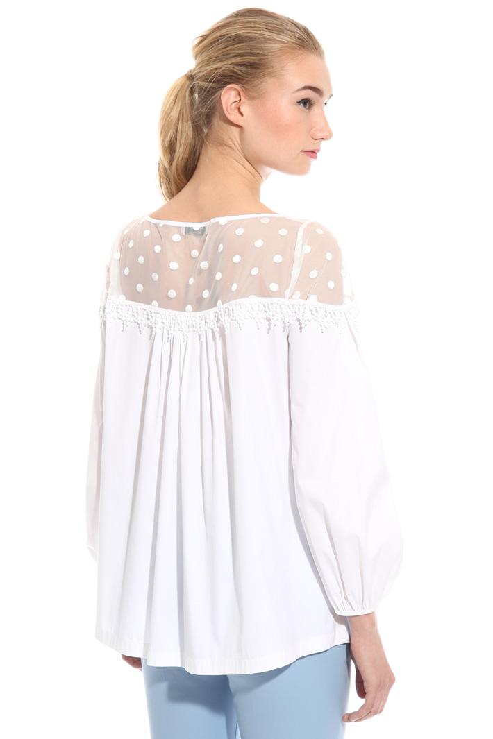 Blusa in popeline e tulle Intrend