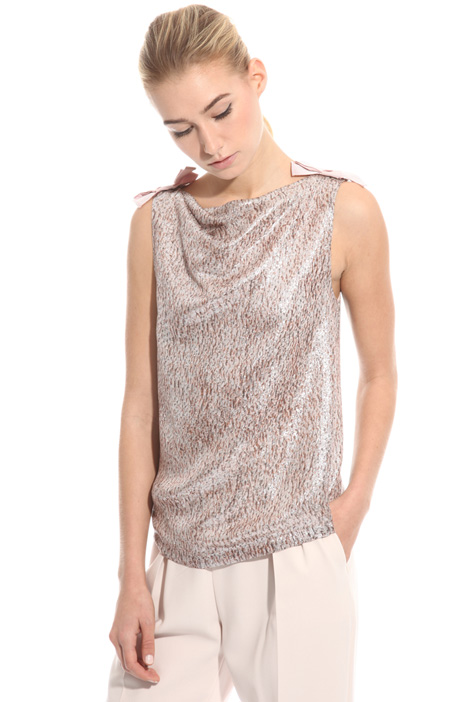 Top jacquard in seta lamé Intrend