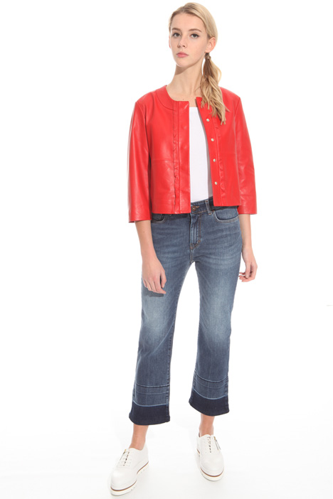 Frill leather jacket Intrend