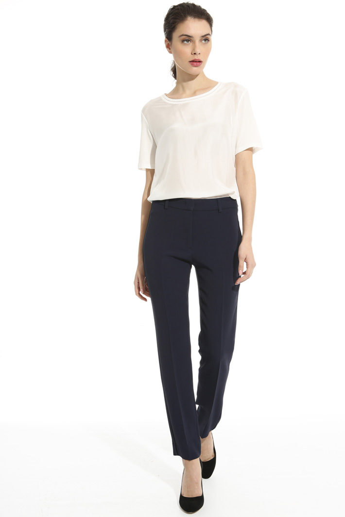 Jersey and crepe T-shirt Intrend