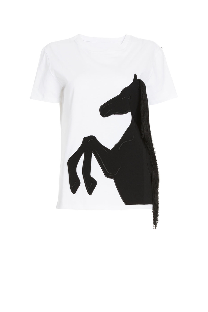 Fringed cotton T-shirt Intrend