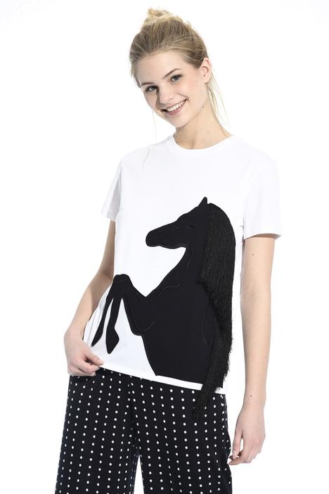 T-shirt in cotone con frangia Intrend