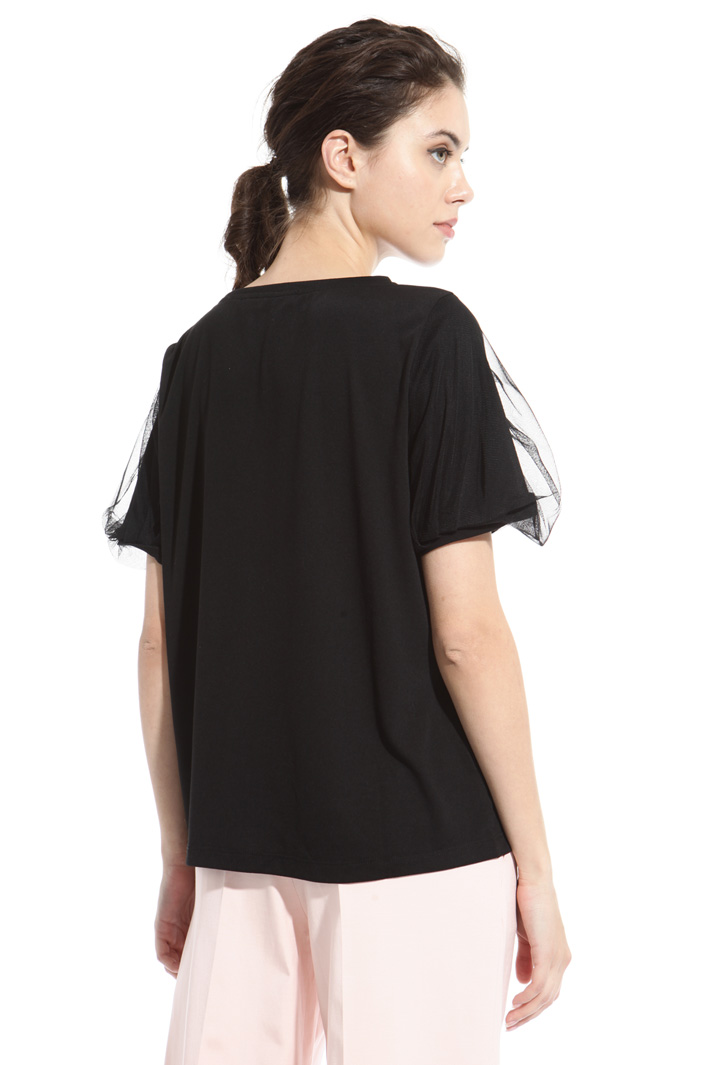 Tulle sleeve T-shirt Intrend
