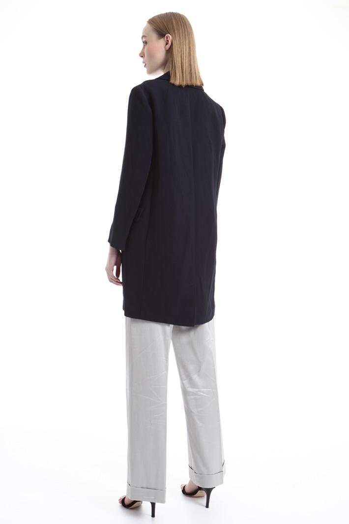 Linen blend topcoat Intrend