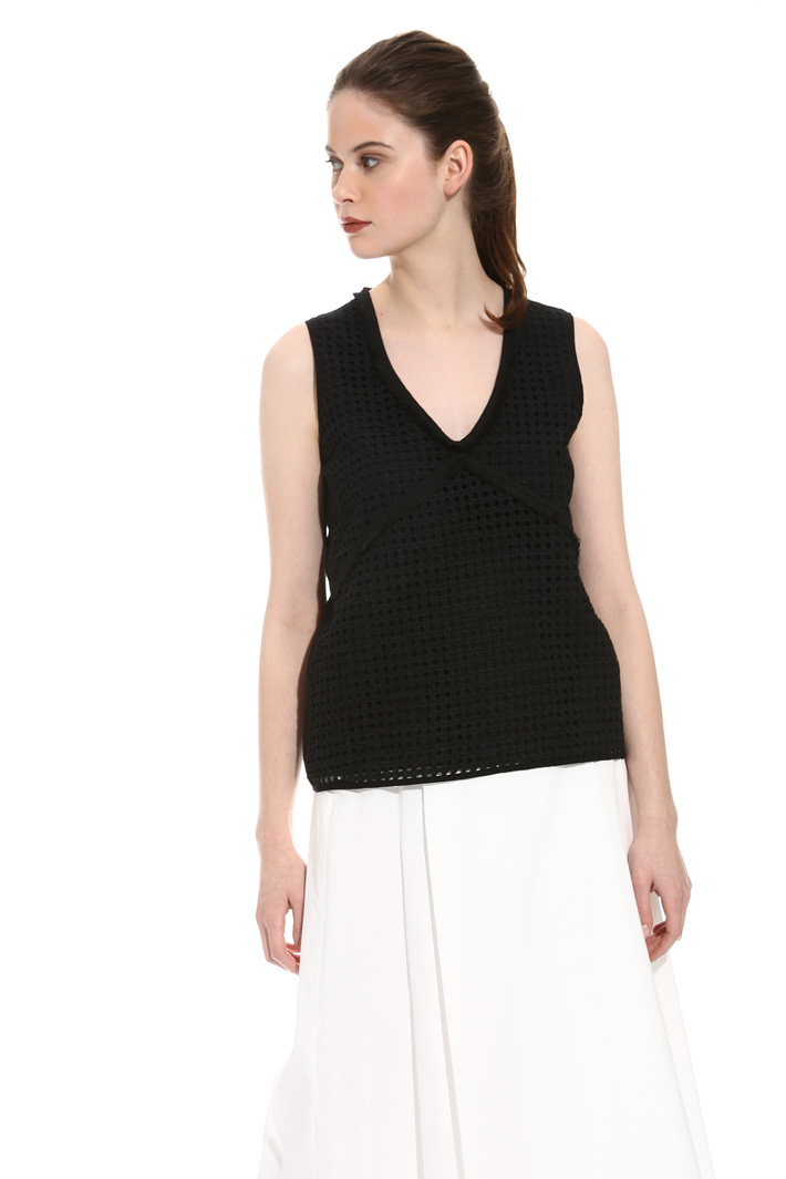 Fringed broderie anglaise top Intrend