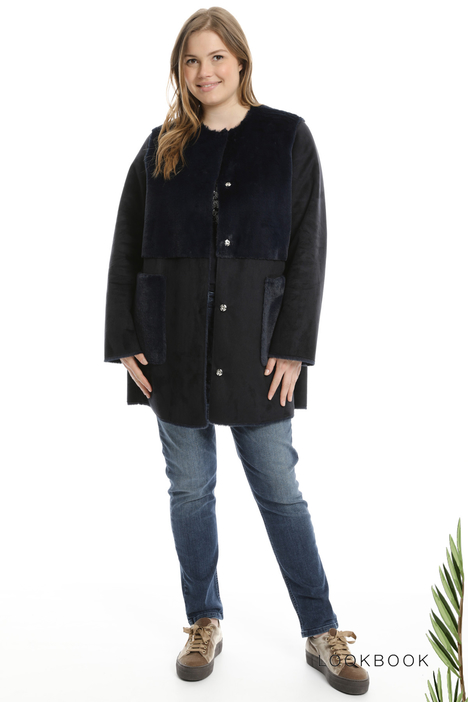 Suede-effect coat  Intrend