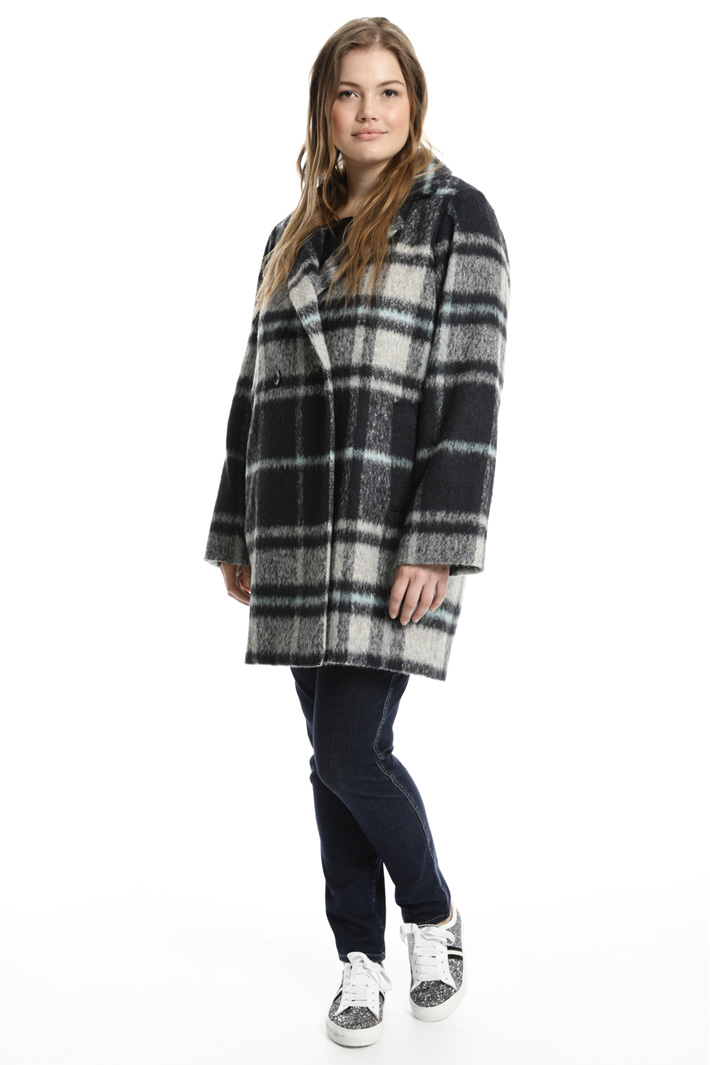 Checked alpaca coat Intrend