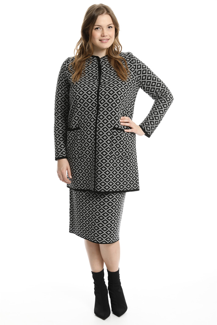 Knit jacquard overcoat Intrend