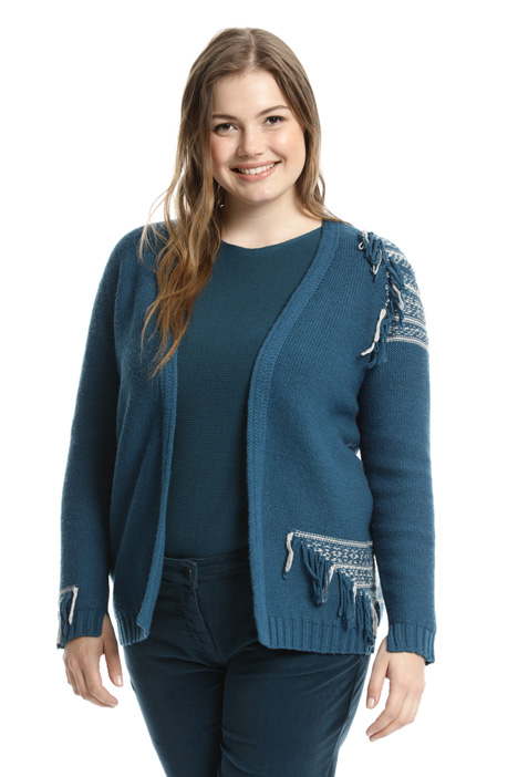 Wool cardigan with fringe  Intrend