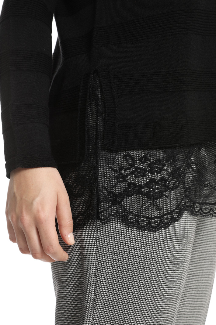 Lace and wool sweater Intrend