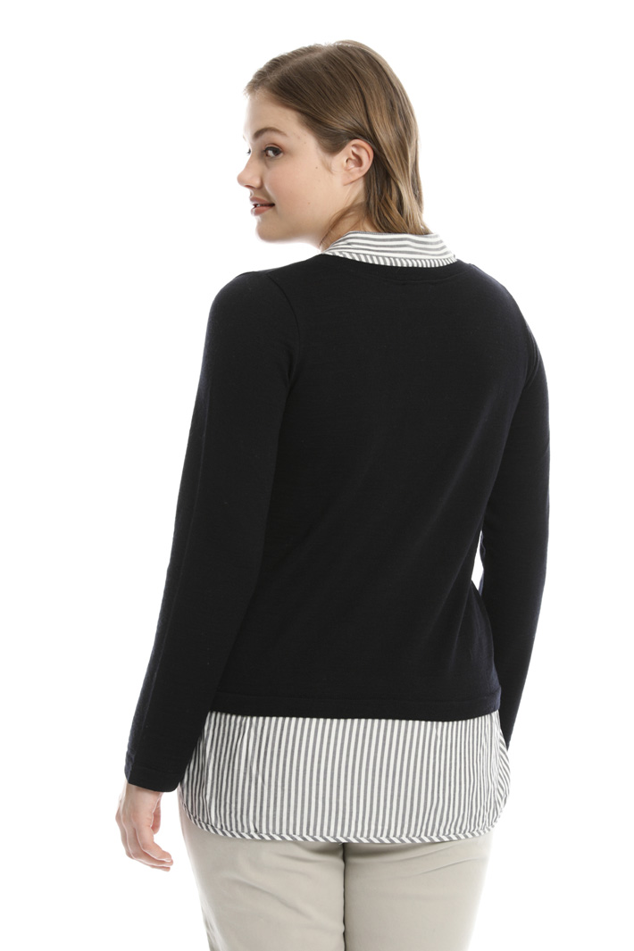Sweater with fabric inserts  Intrend